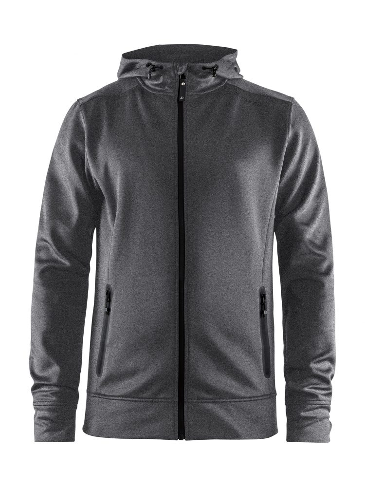 Craft Noble Full Zip Hood M Dark Grey Melange/Black