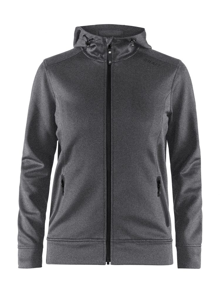 Craft Noble Full Zip Hood W Dark Grey Melange/Black