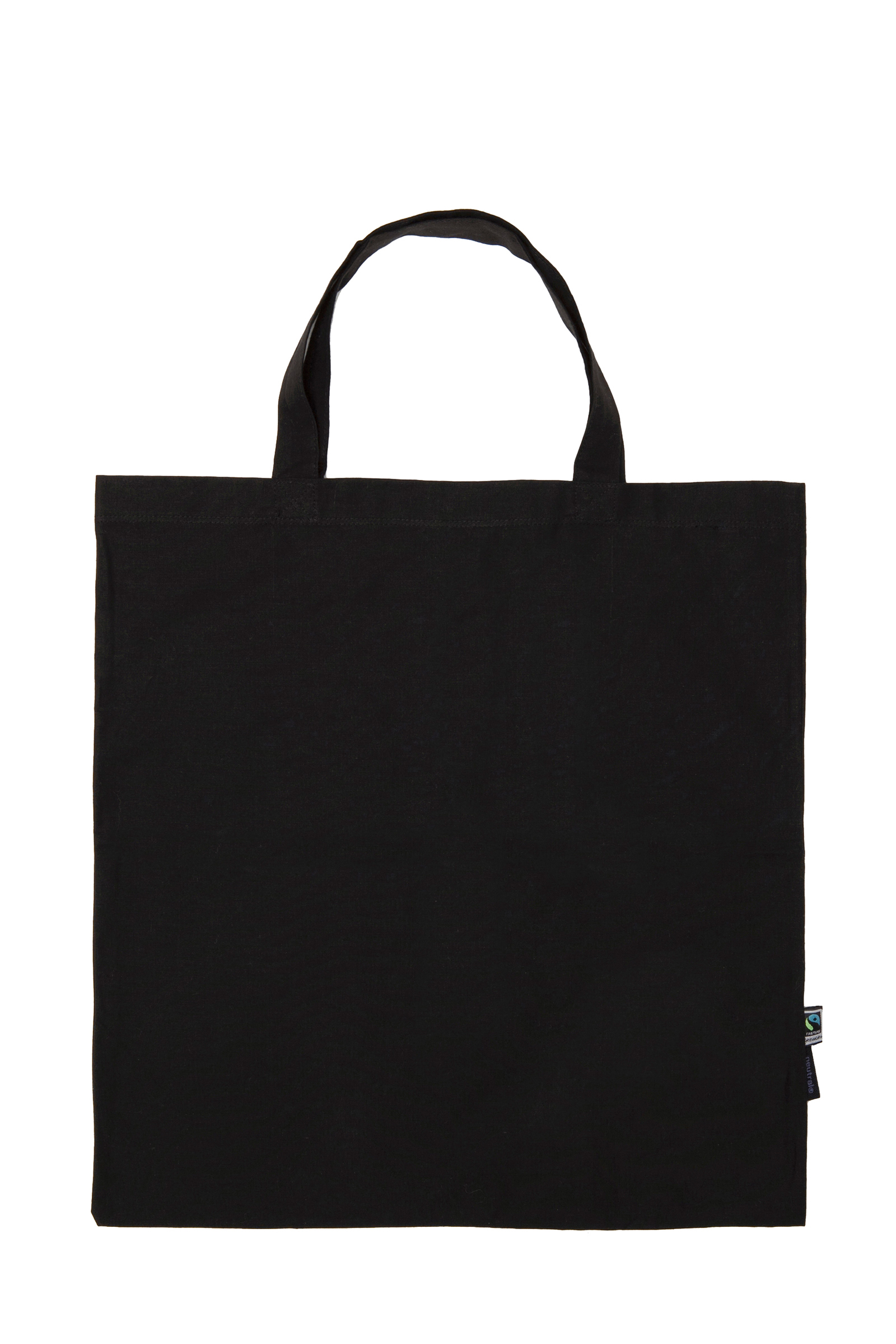 Neutral Shopping Bag w. Short Handles Black