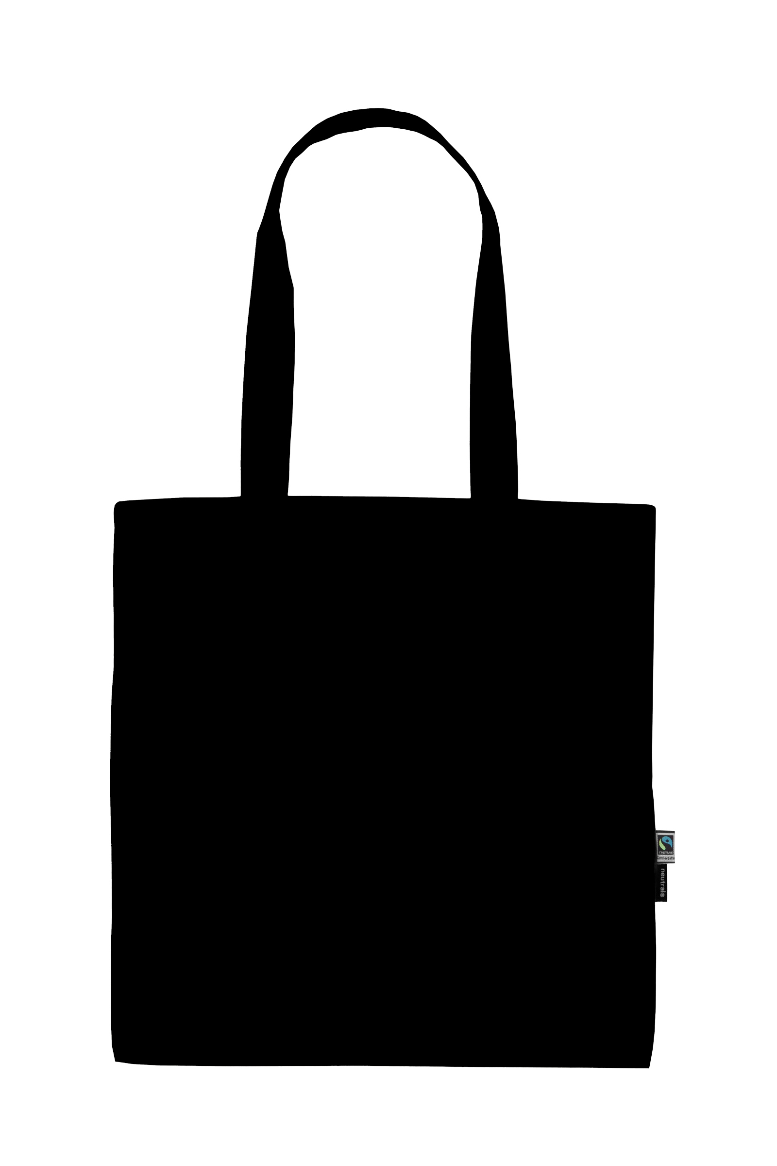 Neutral Shopping Bag w. Long Handles Black